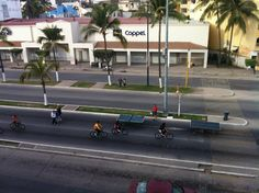 Sunday morning activity on the main road in Puerto Vallarta. Check out the ping pong tables! #iheartPuertoVallarta