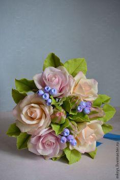 Букет из роз - бежевый,свадьба,свадьба 2014,цветы ручной работы,цветы