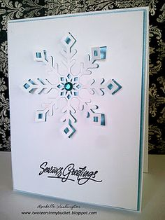 Using the die cut and the negative for a pop out snowflake! Great idea!