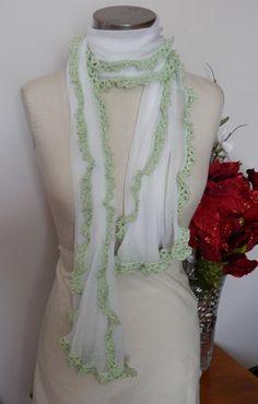 White Gossamer Shawl With Hand Crocheted Light by mysticbazaar, $25.00