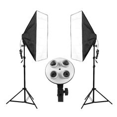 Promo Leshp Photography 70x50cm Softbox Continuous Lighting System 4 Lamp Socket Photo Studio