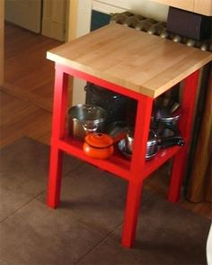 20+ IKEA Hacks Using the Lack Side Table - genius! make a butcher block stand for the kitchen. these end tables are only $10 each!