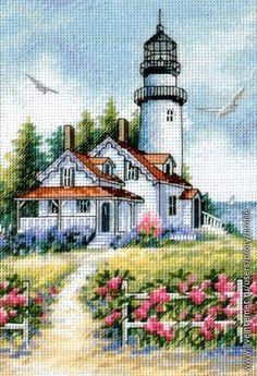 """Схема вышивки крестом """"Живописный маяк"""" (Dimensions)"""
