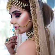 Low Bun Hairstyles, Indian Bridal Hairstyles, Gorgeous Hair, Beautiful Bride, Bridal Hair Accessories, Here Comes The Bride, Bridal Looks, Wedding Makeup, Eye Makeup