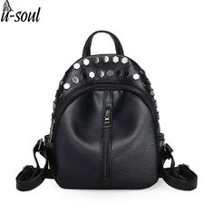 6.41$  Buy here - fashion small women backpacks small rivet zipper pu leather student backpack preppy style backpack girls women's back pack A463   #magazineonlinewebsite