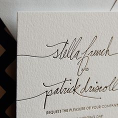 Linda and Harriet Letterpress Invites. I love letterpress that moves away from the standard block type feel.