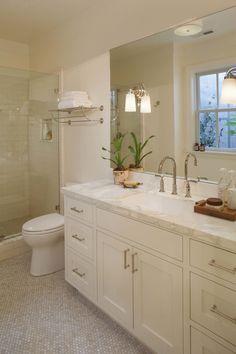 metal towel wall shelf | cabinets + hardware + countertops | faucet | tile | layout