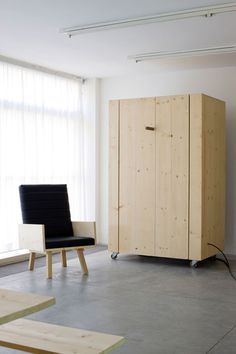 modern home lilving room furniture design ideas murphy bed pine wood by Harry Thaler Room Furniture Design, Furniture For You, Living Room Furniture, Tiny Living, Living Spaces, Cama Murphy, Murphy Beds, Minimal Apartment, Convertible Furniture