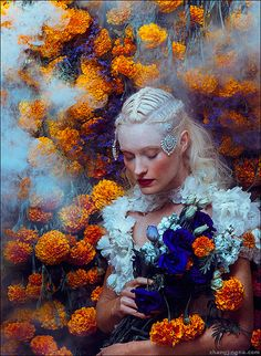⊰ Posing with Posies ⊱ paintings of women and flowers - In the Secret Garden by zemotion,  by Jingna Zhang