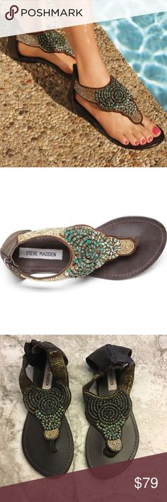 """Steve Madden Pharroh detailed sandals size 7.5 NEW Steve Madden Pharroh detailed sandals NEW  📦Same day shipping if P.O. Open ❤ Measurements approximate. Descriptions accurate to the best of my knowledge  NEW with the tags on the bottoms of the soles. Steve Madden """"Pharroh"""" bead detailed thong-style sandals. Golden and teal toned beading with back zipper closure. Size 7.5. Upper: textile and leather. Lining: leather. Outsole: leather. Smoke/pet free home. I do not have the original box…"""