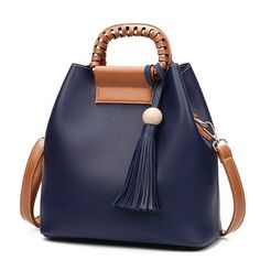Stylish PU Leather Handbag Bucket Bag Shoulder Bags Crossbody Bags For Women
