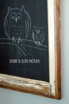 DIY chalkboard from a salvage window