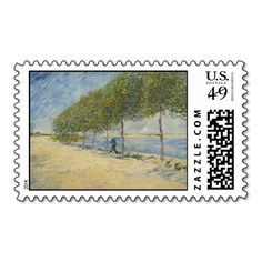 Along the Seine by Vincent Van Gogh Postage Stamp