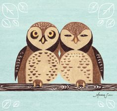 Spotted Owl, Owling Buddies Cute Children's Room, Nursery, Boy or Girl, Art Illustration Print, Brown and Blue. $18.00, via Etsy.