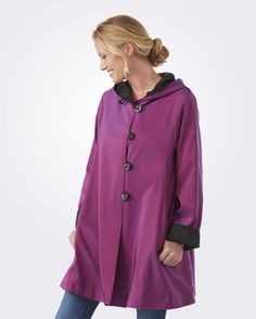 Bestselling Madison Coat in Berry- Reversible, water repellent, All Weather Wear. #MadeinUSA #Travel
