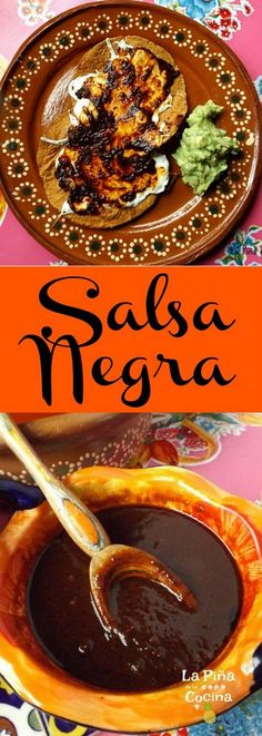 Salsa Negra A smoky salsa prepared with chile pasilla and chile morita. Delicious for any of your favorite Mexican food! Salsa Negra A smoky salsa prepared with chile pasilla and chile morita. Delicious for any of your favorite Mexican food! Real Mexican Food, Mexican Cooking, Mexican Kitchens, Mexican Dishes, Authentic Mexican Salsa, Restaurant Salsa, Mexican Salsa Recipes, Guacamole Salsa, Vegetarian