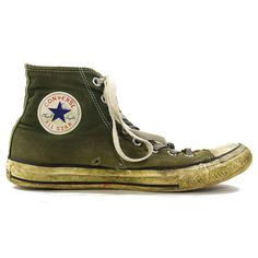 21cbaf81b132 80s Converse High Top Sneakers in Olive Green   Vintage 1980s Thrashed  Chucks   Rockabilly Rocker Boho Hippie Basketball Shoes   Women s 8