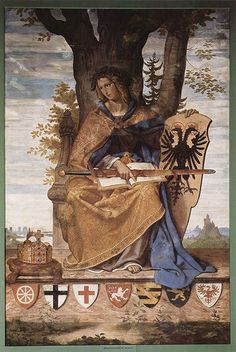 Germania, a personification of the German nation, appears in Philipp Veit's fresco (1834–36). She is holding a shield with the coat of arms of the German Confederation. The shields on which she stands are the arms of the seven traditional Electors of the Holy Roman Empire.