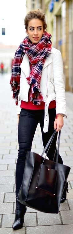 tartan scarf + white moto jacket.