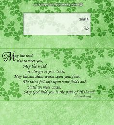 St. Patrick's Day Free, Printable Candy Bar Wrapper with shamrocks & Irish blessing (May the road rise to meet you...) Easy instructions for a standard 1.55 oz chocolate bar.  http://www.photo-party-favors.com/