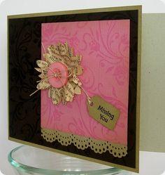 Vintage flower card: handmade greeting card - vintage flower