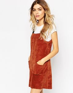 Image 1 ofASOS Cord Pinafore Dress with Patch Pockets