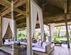 """outdoor living pavillion from """"Bali Living: Innovative Tropical Design,"""" by Gianni Francione"""