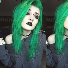 Green Hair, Purple Hair, Colored Dreads, Colored Hair, Dress Makeup, Hair Makeup, Emo Haircuts, I Like Your Hair, Haircut And Color