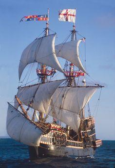 Golden Hinde full sail at sea