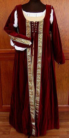 Italian Renaissance Burgundy Red Velveteen Dress w/ Straight Sleeves