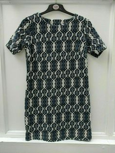 Tu Dress Blue Black White Textured Shift Size 14 (70) #TU #Shift #Casual
