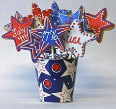 4th of july party - a cookie bouquet