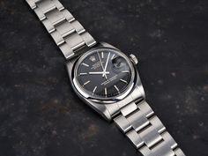 Rolex Black Gloss Gilt-Print 1600 Datejust