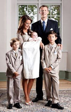 Christening of Prince Joachim and Princess Marie of Denmark's first child, Prince Henrik. Also pictured are Joachim's sons from his first marriage, Prince Nicolai and Prince Felix.