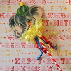Retro-like Elephant Cake Topper/Wand/Decoration/Cupcake topper. $14.00, via Etsy.