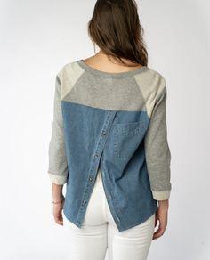 Trinity Sweatshirt in Grey Mix - PRELOVED Vintage Denim, Denim Shirt, Grey, Sweatshirts, Sleeves, How To Wear, Jackets, Fashion, Fabrics