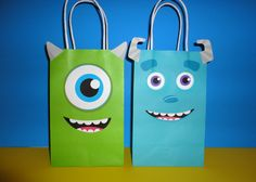 Instant Download Monsters Inc Favor Bags - Monsters Inc Party/ Goody/ Candy/ Goodie/Treat/ Loot Bags. Monsters University Birthday Party by CreativePartyStudio on Etsy Monsters University Birthday Favors, Monsters cake, monsters cookies, monsters invite, monsters labels, monsters toppers, monsters cupcakes.