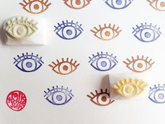 *eye rubber stamp/hand carved rubber stamps. set of 2. each rubber stamp is hand drawn and hand carved. please enjoy the uniqueness of hand crafted