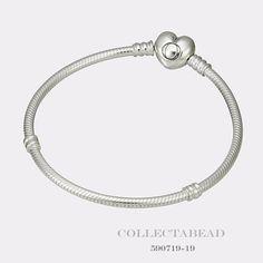 "Authentic Pandora Sterling Silver Bracelet with Pandora Heart Clasp 9.1""  590719 #Pandora"