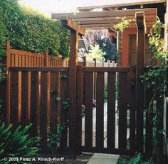 Redwood Fence, Gate and Arbor Photo - South Pasadena (Los Angeles County)