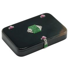 Art Deco Black Agate, Platinum, Carved Jade and Ruby Bead and Diamond Box, Cartier, France