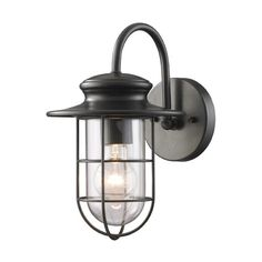 Portside Matte Black One Light Outdoor Wall Light Elk Lighting Wall Mounted Outdoor Outd
