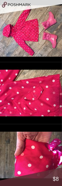 Circo pink polka dot rain jacket/windbreaker Keep your LO singing in the rain with this sweet jacket. April showers bring May flowers so you know you need this now! Very good condition, only flaw is a very light dirt stain on the underside of one of the sleeves. Hard to spot but tried my best to capture in photos. Circo Jackets & Coats Raincoats