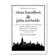 New York skyline Wedding Invitations Invitations on 100% Recycled shimmer Paper, featuring classic double border, the classic New York invitations will convey an urban look and sophistication for your guests.