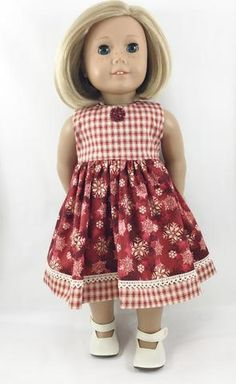 Made to fit American Girl dolls, this handmade and handknit sweater and dress set is a must for the holidays and Winter festivities! Ages 8+ The sleeveless dre