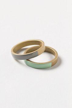 Vanward Enamel Ring set in Mint - Anthropologie.com