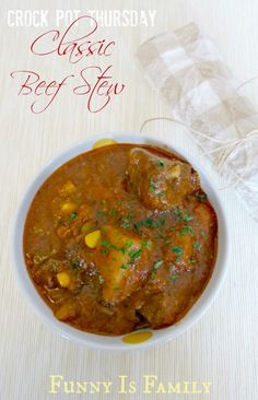 This classic crockpot beef stew tastes like the slow cooker stew recipe my grandma used to make! I served it with homemade biscuits and it a great weeknight meal! via @funnyisfamily