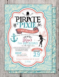 Hey, I found this really awesome Etsy listing at https://www.etsy.com/listing/241106192/pirates-and-pixie-party-invitations