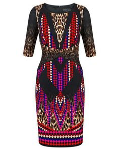 ANIMAL GEO DIGITAL MIRROR PRINT DRESS