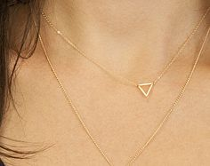Tiny Gold Triangle Necklace / FLOATING TRIANGLe Necklace / Minimal, Delicate Necklace / Little Gold Triangle 14k Gold Fill Chain LN301
